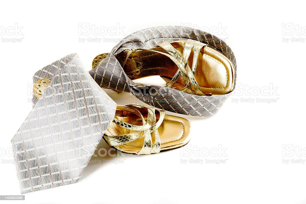 women shoes and a tie stock photo