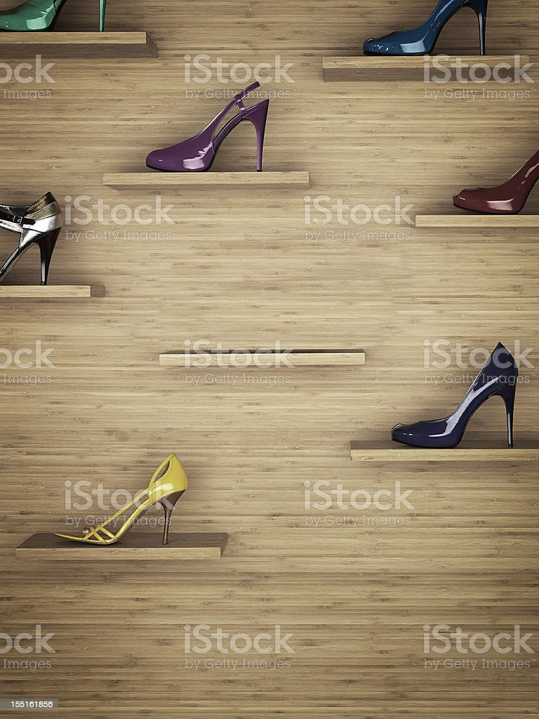 Women shoes rack stock photo