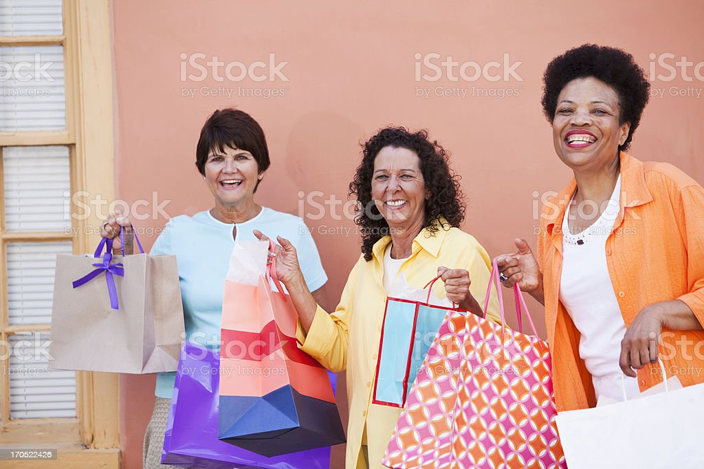 Women shopping together stock photo