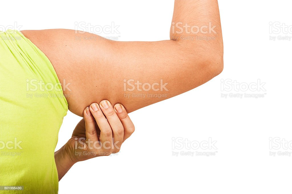 women show fat wrinkle of armpit isolate background stock photo