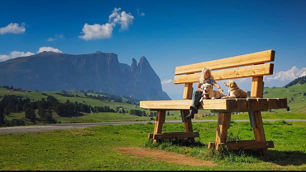women sitting on giant bank with her dogs, seiser alm - seiser alm stock-fotos und bilder