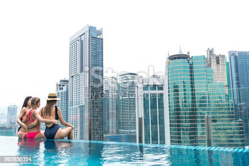 istock Women sitting on rooftop poolside and looking at view 992630354