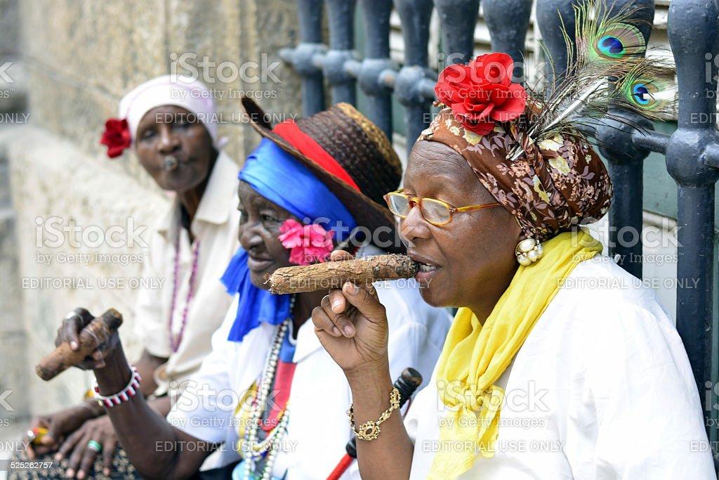 Women smoking cigars in Havana, Cuba stock photo