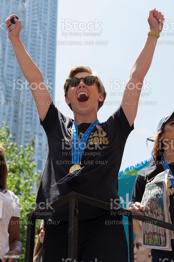Women soccer team ticker parade stock photo