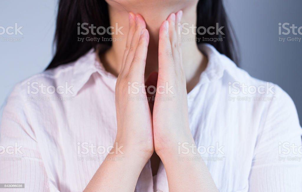 women sore throat stock photo