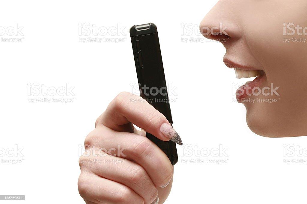 Frau Redner auf dem Telefon – Foto