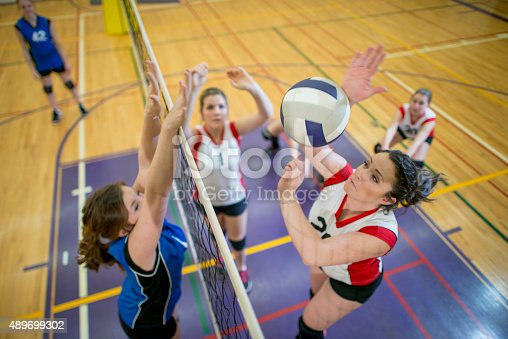 istock Women Spiking and Blocking a Volleyball 489699302