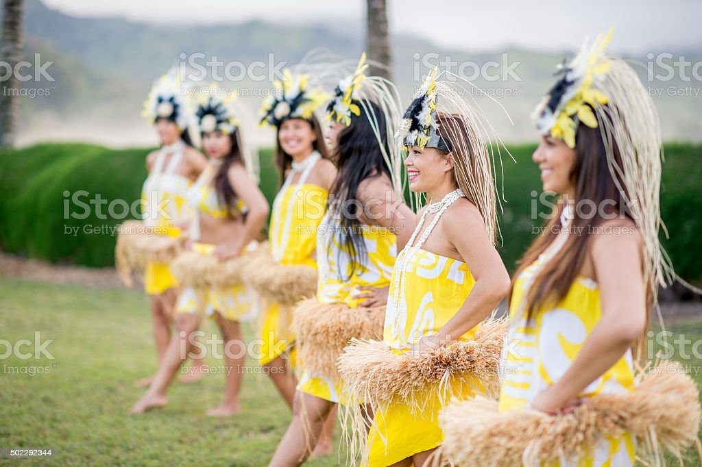 Women Starting a Performance for Tourists stock photo