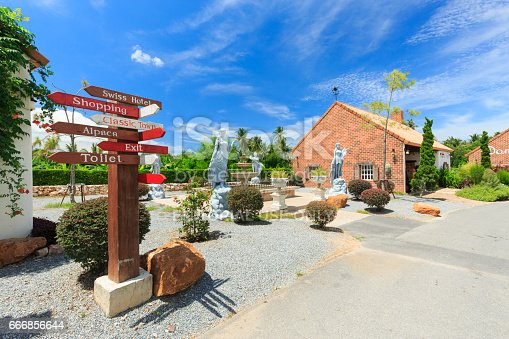istock Women statue at the Swiss Sheep Farm Where is the biggest sheep farm and fun park style in Pattaya 666856644