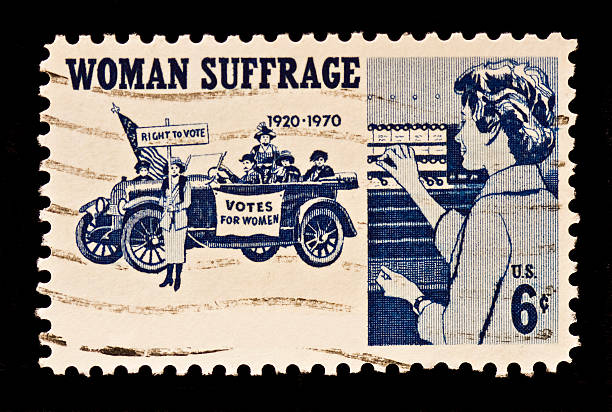 Women Suffrage Postal Stamp Women Suffrage,the right to vote postal stamp was issued in 1970. The stamp dispicts suffragettes,1920,and women voters. women's suffrage stock pictures, royalty-free photos & images
