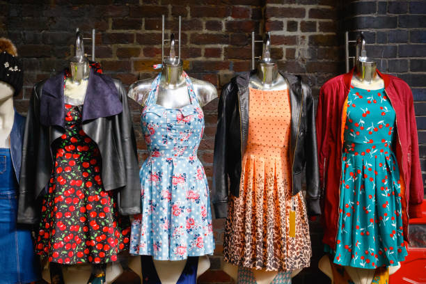 Women summer dresses on display at Camden market stock photo