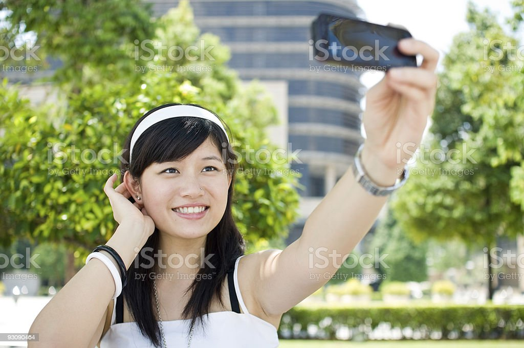 Women taking self picture royalty-free stock photo