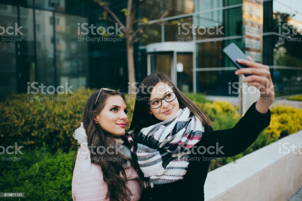 women taking selfie in budapest royalty-free stock photo