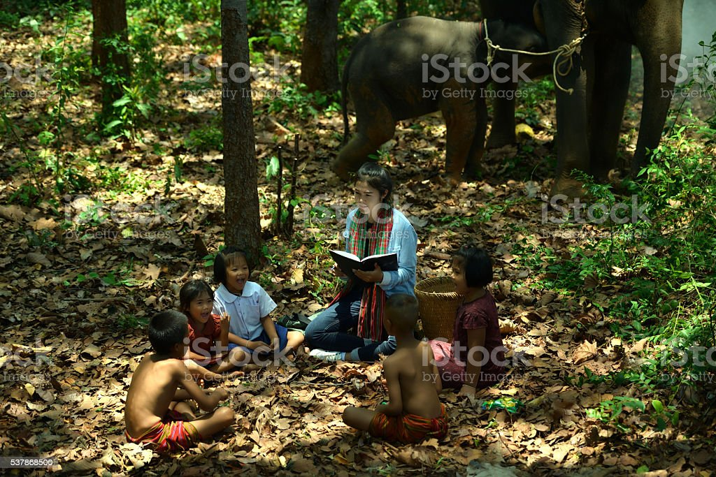 Women teacher teach children with elephant and mahout watching stock photo