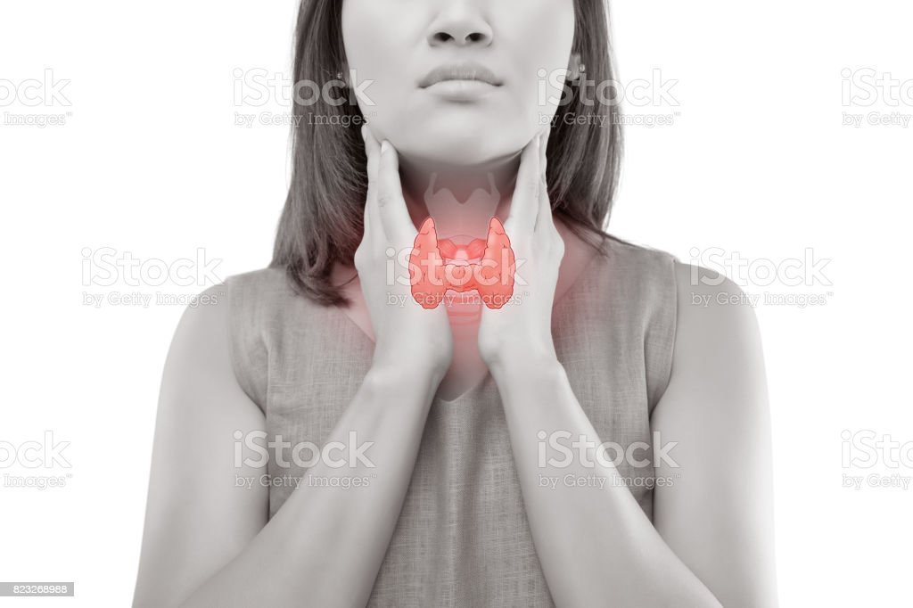 Women thyroid gland control. Sore throat of a people isolated on white background. stock photo