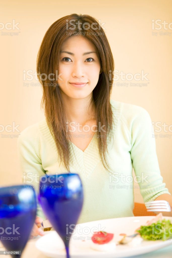 Women to eat in the restaurant royalty-free stock photo