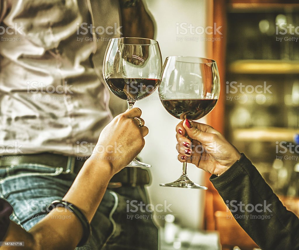 Women toasting at restaurant royalty-free stock photo