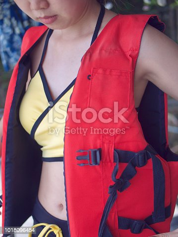 577645320 istock photo Women tourist are wearing life jackets bfore going activity on ocean.watersport fun on summer beach vacation. 1018096454
