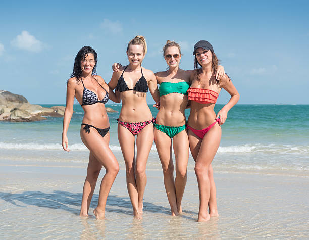 Women traveling together, Vacation by the Ocean, Spring Break stock photo