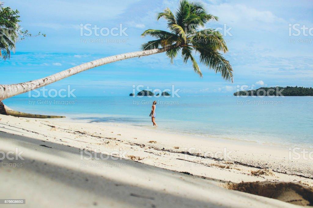 Women under the palm tree stock photo