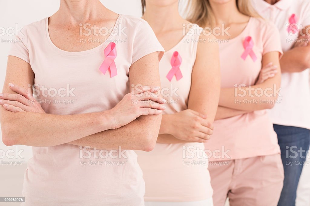 Women united against breast cancer stock photo