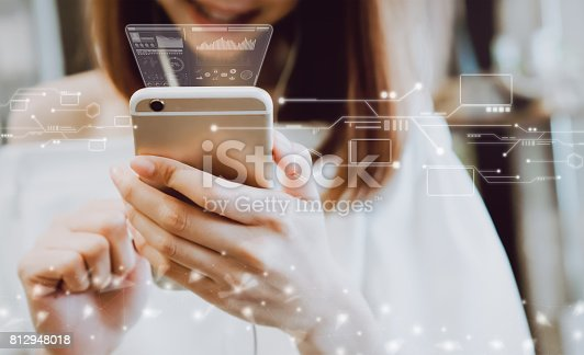 istock Women using a smartphone in the display and technology advances in stores. Take your screen to put on advertising. 812948018