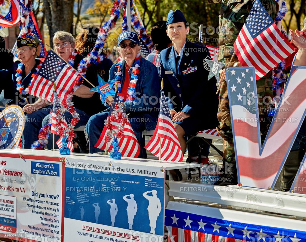 Women Veterans in Veterans Day Parade stock photo