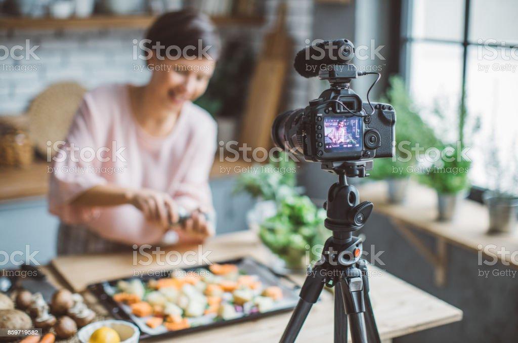 Women vlogging stock photo