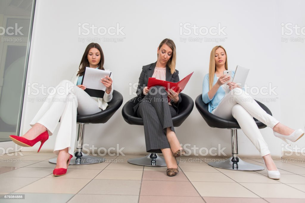 Women waiting for meeting in a office stock photo