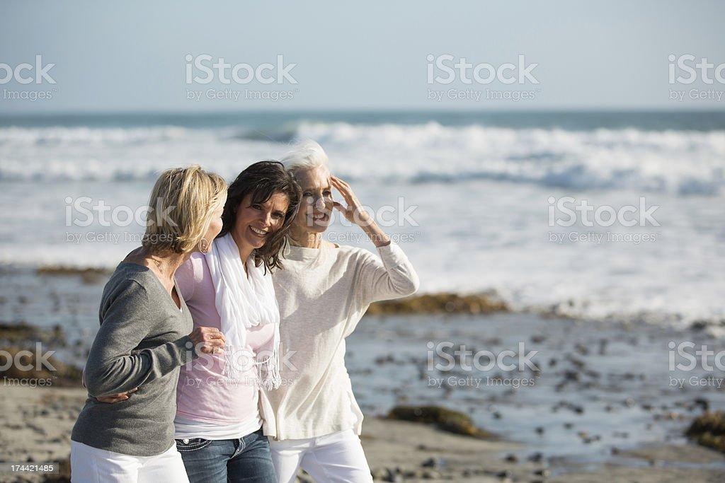 Women walking at a beach stock photo