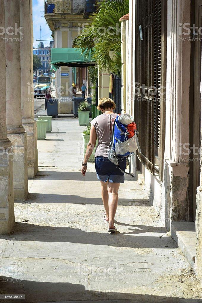women walking down street royalty-free stock photo