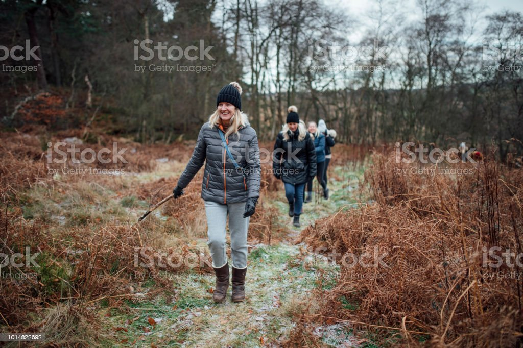 Women Walking in the Winter stock photo