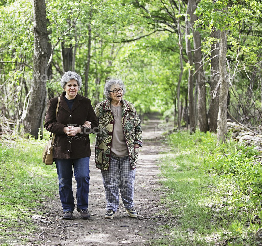 Women Walking Together on Nature Trail stock photo