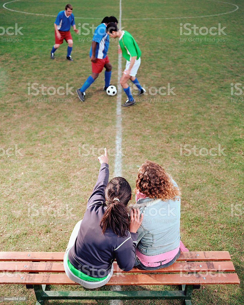 Women watching soccer game royalty-free stock photo