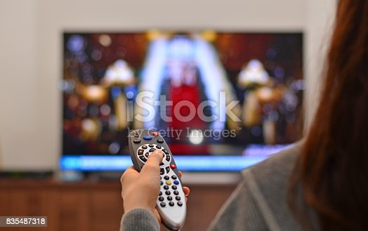 istock women watching tv and use remote controller 835487318