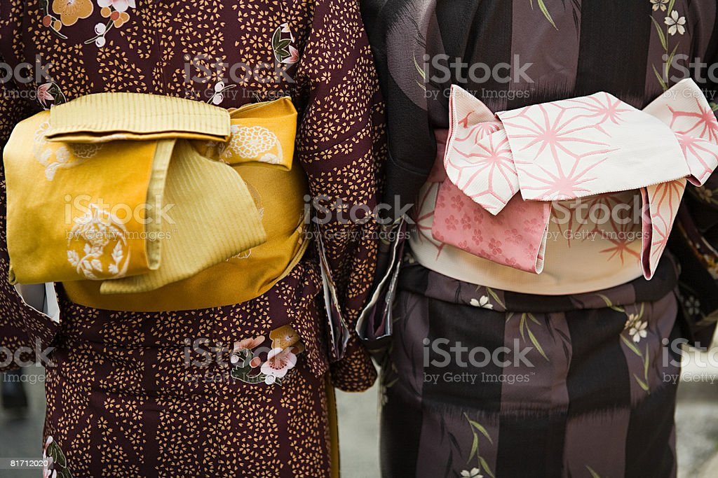 Women wearing kimonos stock photo