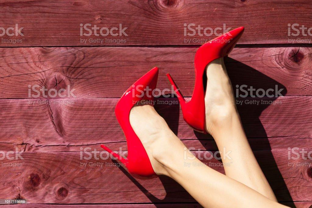 Women wearing red heels stock photo