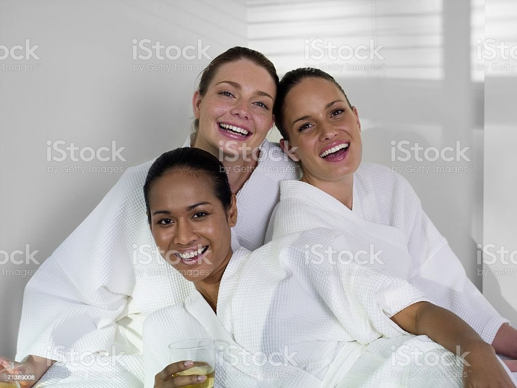 Women wearing spa robes royalty-free stock photo
