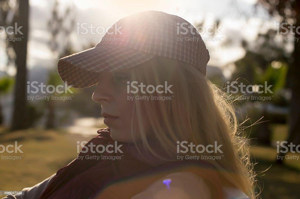women whit hat sun royalty-free stock photo