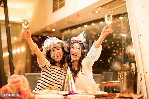 istock Women who are with glee at the birthday party 602321514