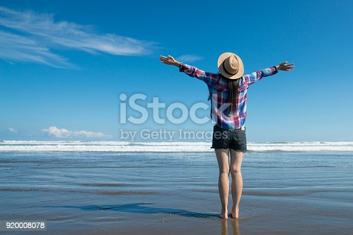 istock Women who raise both hands at the beach 920008078