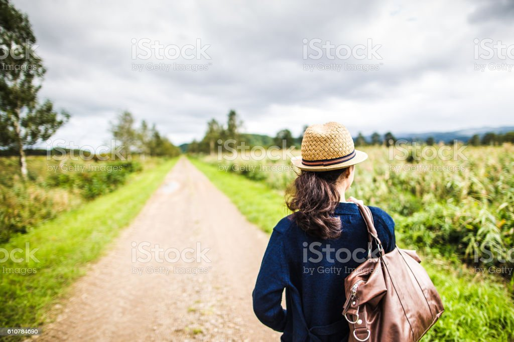 Women who walk the nature trail stock photo