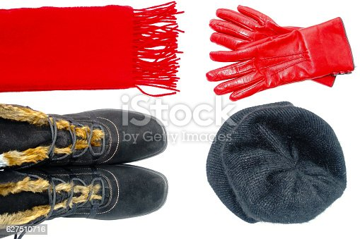 istock Women Winter Boots, Scarf, Hat and Leather Gloves 627510716