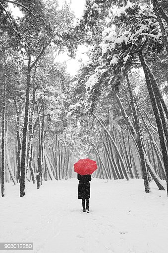 Women holding red umbrella in the silence snowy forest