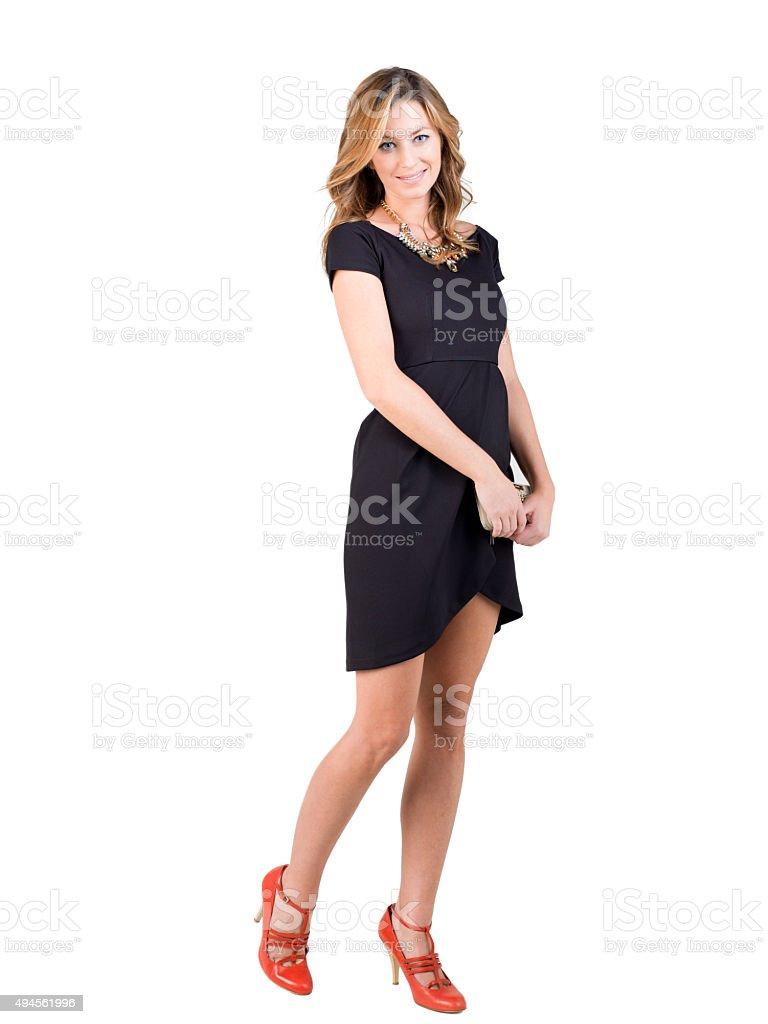 Mujer Con Vestido Negro Y Rojo Y Zapatos Foto De Stock Y Más