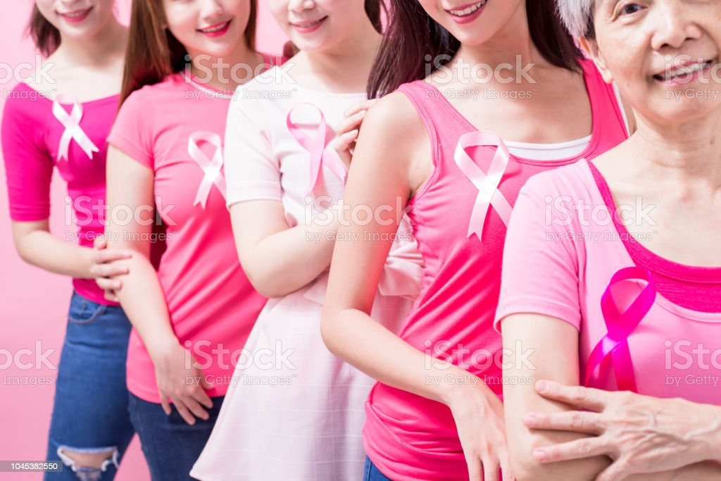 women with breast cancer prevention on the pink background
