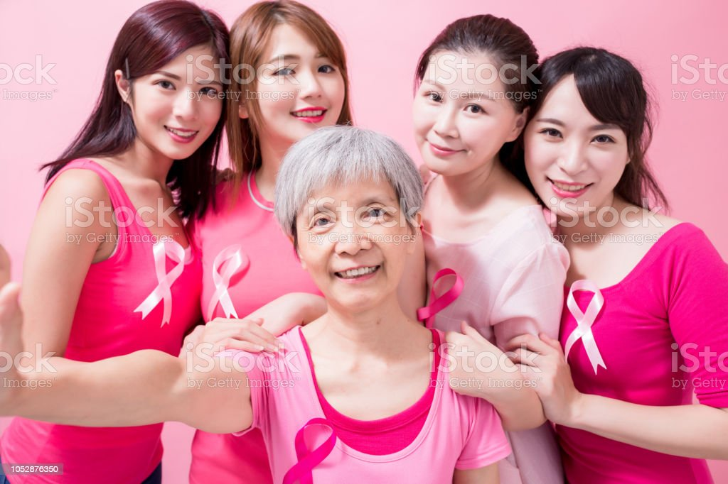 women with breast cancer prevention stock photo