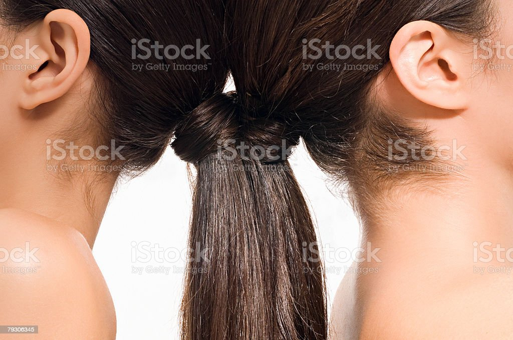 Women with brunette ponytails stock photo