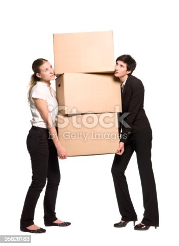 istock Women with cardboard boxes 95826163