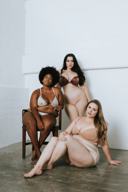 Women with confidence and body positivity Women with confidence and body positivity lingerie stock pictures, royalty-free photos & images